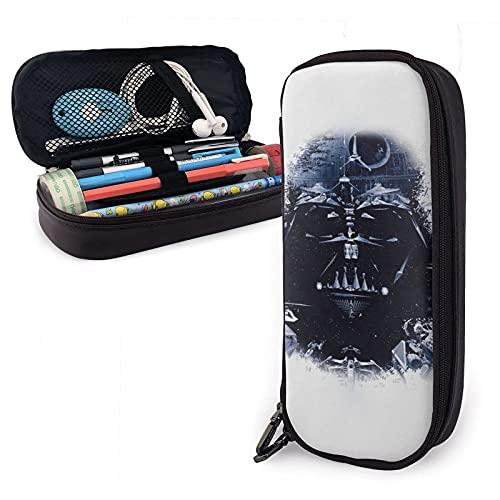 Star Mandalorian Wars - Estuche de piel para lápices, con cremallera, ideal para la escuela, el trabajo y la oficina