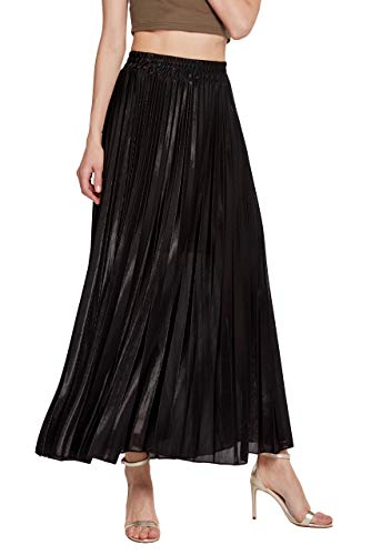 OMZIN Fall Winter Skirt Women's Shiny High Waist Pleated Midi Skirts Black S