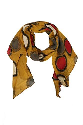 Zwillingsherz Seiden-Tuch im Punkt Design - Hochwertiger Schal für Damen Mädchen - Halstuch - Umschlagstuch - Loop - weicher Schlauchschal für Frühjahr Sommer Herbst und Winter -gelb