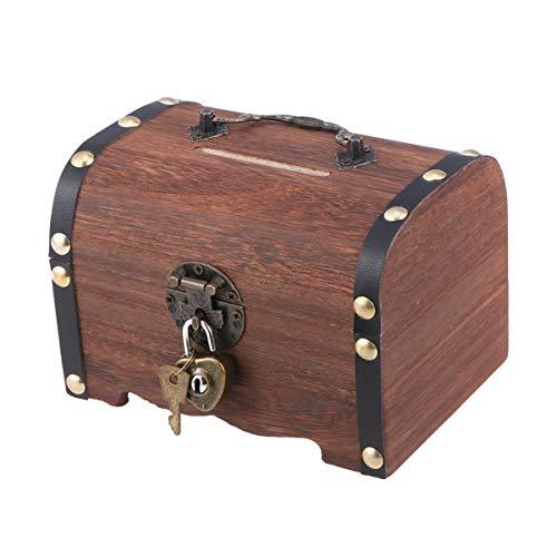 Veemoon Retro Cofre de Madera Caja de Almacenamiento de Monedas con Cerradura Caja Del Tesoro Regalo para Adultos Niños Colección de Joyas