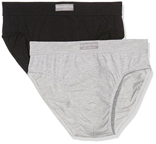 Abanderado ocean moda mpks, slip para hombre, (negro + gris vigoré cc2), large (tamaño del fabricante:52) pack de 2