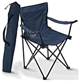 AMULAKH Camping Folding Chair, Lightweight, Durable, Comfortable and Foldable Outdoor Fishing Chair with armrests and Cup Holder, Very Suitable for Camping, Festivals, Beach, Barbecue