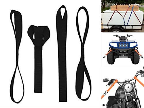 ZYTC Suave Bucle del Lazo Correas de Amarre de Motocicleta Correa de Trinquete Correas de Sujección Cinta para Remolque ATV Acarreo de Remolque de la Motocicleta, 2272Lb,4 Unidades (Negro)