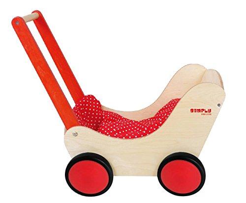 GICO Puppenwagen Lauflernwagen aus Holz, Natur / rot mit Garnitur und Gummirädern