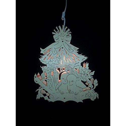 Erzwelt Original Erzgebirge Fensterleuchte beleuchtet Vogelhaus Leuchte Fensterbild, Holz, Beige, 31 x 28 x 5 cm