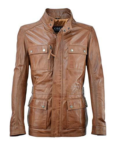 Lange Herren Lederjacke - M/65 Fieldjacket - echtes Leder - Military - Safari Style, Größe:60, Farbe:Cognac Braun