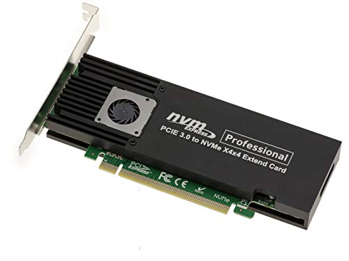 PCIe 3.0 16x Controller Karte für 4 SSD M.2 NVMe M Key (M2 NGFF) High und Low Profile. Chipset ASM2824.