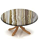 Round Fitted Tablecloth with Elastic Marble Rock Patterns Marble Mustard Brown, Rock Texture Round Table Cover for Kitchen Party Dinner Table Decoration Fits Table 24