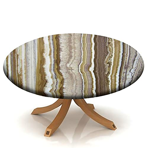 Round Fitted Tablecloth with Elastic Marble Rock Patterns Marble Mustard Brown, Rock Texture Round Table Cover for Kitchen Party Dinner Table Decoration Fits Table 24' to 34'