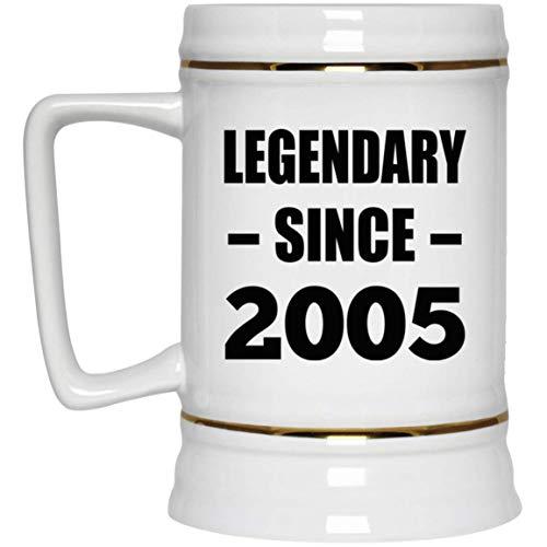 16th Birthday Legendary Since 2005 - Beer Stein Jarra de Cerveza, de Cerámica - Regalo para Cumpleaños, Aniversario, Día de Navidad o Día de Acción de Gracias