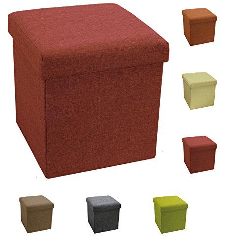 Tata Home Pouf Puff Contenitore Scatola Cubo Poggiapiedi Sgabello in Poliestere Misura 38 x 38 x 38 cm Colore Bordeaux