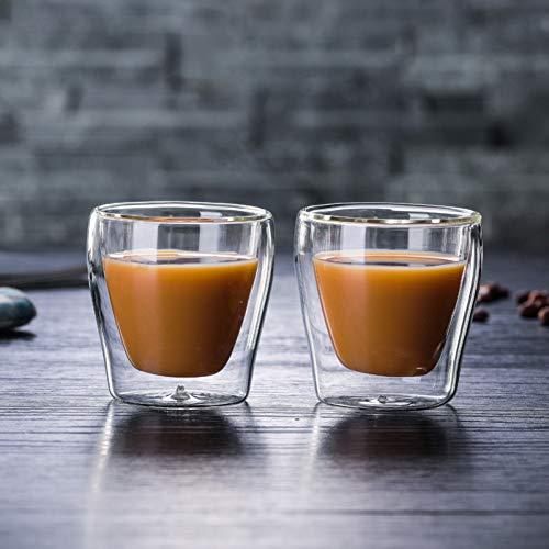 Erjialiu Kaffeetasse 2 Stücke 100 Ml Doppelschicht Kaffeetasse Espressotasse Transparente Hitzebeständige Cafe Cup Schwarz Kaffeetasse,klar,100 ml