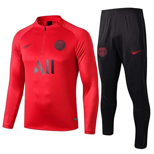 Gylilai Felpa da Calcio da Uomo European Football Club Manica Lunga Primavera e Autunno Uniforme da Allenamento Sportiva Traspirante (Top + Pantaloni) Rosso (Color : Red, Size : S)