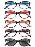 HEEYYOK 5 Pacco Occhiali da Lettura Leggero Moda Cerniere a Molla di Qualita Occhiali da Vista per Uomo Donna Mescola Colore