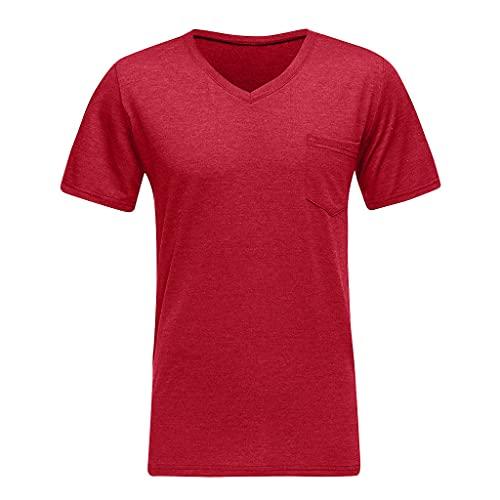 Xmiral Maglietta A Uomo Sportswear T Shirt Uomo Vintage Divertenti Camicetta Maglietta Maglietta Mates Maglietta Uomo Manica Corta Sport Tee Maglia (M,1- Rosso)