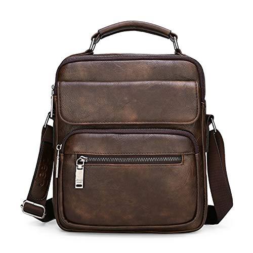 JEEP BULUO bolsa de couro transversal para iPad de 9,7 polegadas bolsa mensageiro masculina, Marrom, One_Size