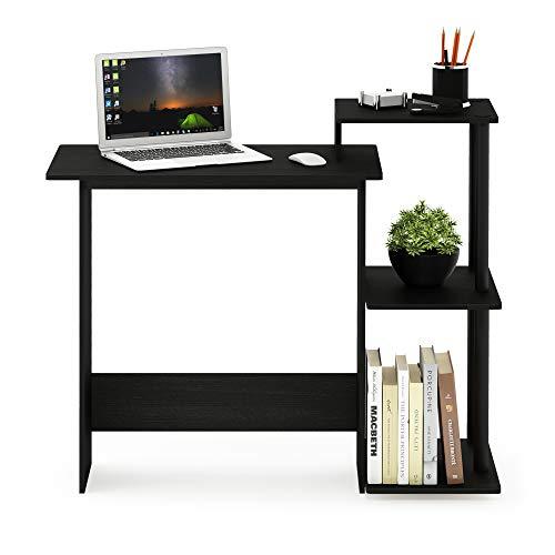 FURINNO Efficient Home Laptop Notebook Computer Desk, Square Side Shelves, Americano/Black