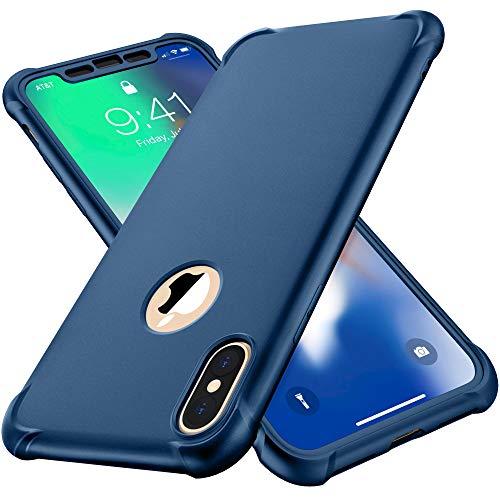 ORETECH Funda Compatible con iPhone X, Funda para iPhone XS con 2 X Protector de Pantalla de Vidrio Templado Carcasa para iPhone XS Silicona PC TPU Bumper Rubber Caso para iPhone XS X Azul Profundo