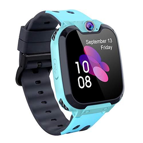 Smartwatch Telefono per Bambini con Lettore Musicale 1GB SD Card Multifunzionale Orologio Intelligente con Giochi SOS Calcolatrice Conversazione a Due Vie Sveglia Regali per Ragazzi Ragazze (BLU)