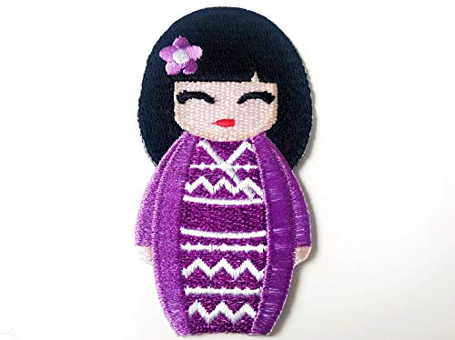 Purple colorJapanese Kokeshi Doll Japan Vintage Cute Girl Jacket T-Shirt Sew Iron on Embroidered Applique Badge Sign Patch
