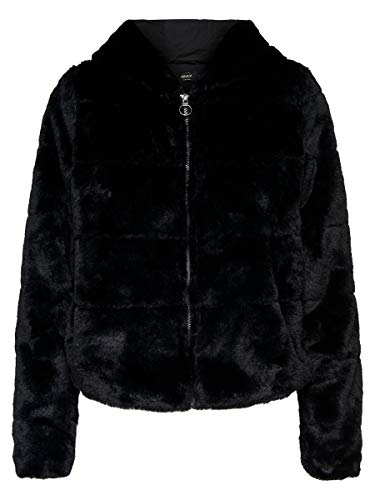 ONLY Damen Onlchris Fur Hooded Jacket OTW Noos Jacke, Schwarz (Black Black), Small
