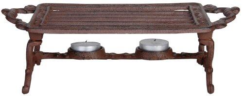 Esschert Design Stövchen, Warmhalteplatte im antik Design, 2 Teelichter, aus Gusseisen, in braun, ca. 31 cm x 13 cm x 9,4 cm