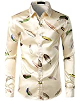 ZEROYAA Men's Feather Printed Silk Like Satin Button Down Dress Shirt for Party Prom ZLCL15-Champagne X-Large