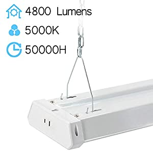 Linkable LED Shop Light 4ft 42W 5000K 4800LM Super Bright, Garage Lighting Fixture, with Pull Chain(ON/Off) 5000K (6PK)
