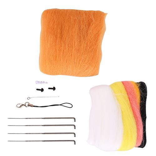 EXCEART 1 Satz Nadelfilz Tiere Kit Nadelfilz Starter Kit Wolle Roving Nadel Filz Kit für Kinder Kinder Erwachsene (Hellbraun)