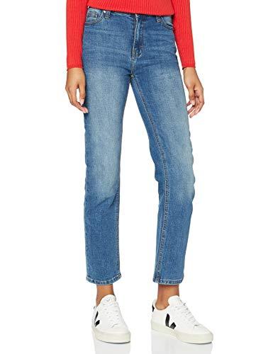 Amazon-Marke: find. Damen Straight Cut-Jeans mit mittlerem Bund, Blau (BLUE), 30W / 32L, Label: 30W / 32L