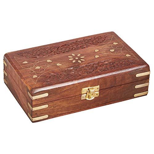 Oosterse kleine opbergdoos met deksel 20 cm groot Driee | Oosterse sieradendoos voor meisjes en dames voor het bewaren van sieraden | Marokkaanse kistje box van hout