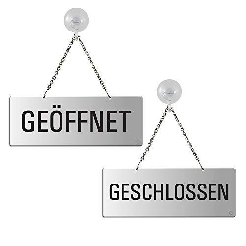 """Wendeschild Türhänger Hängeschild """"Geöffnet/Geschlossen"""" mit Saughaken Nr.31203-ES"""