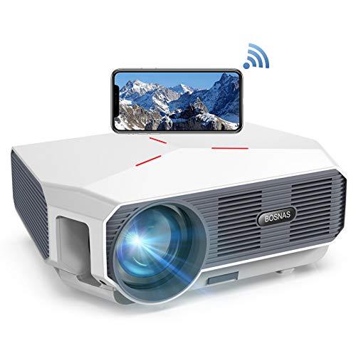【2020 Upgrade】 Beamer WiFi, Native 720p Wireless Mini Projektor 5800 Lumen, Unterstützt Full HD 1080P, 200'' LED Heimkino Beamer Kompatibel mit TV Stick HDMI PS4 Laptop Smartphone
