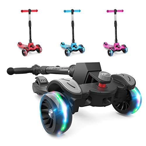 6KU Kids Kick Scooter with Adjustable Height, Lean to...