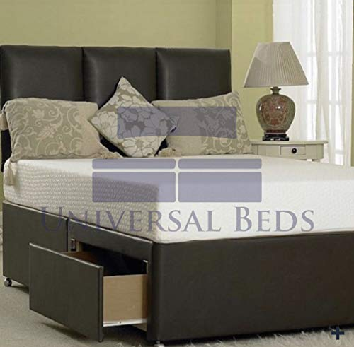 Universal Beds Faux Leather Divan Bed With Memory Sprung Mattress | Free 20' Roma Headboard | Storage Drawers Available (3.0FT Single - 0 Drawer, Black Leather)