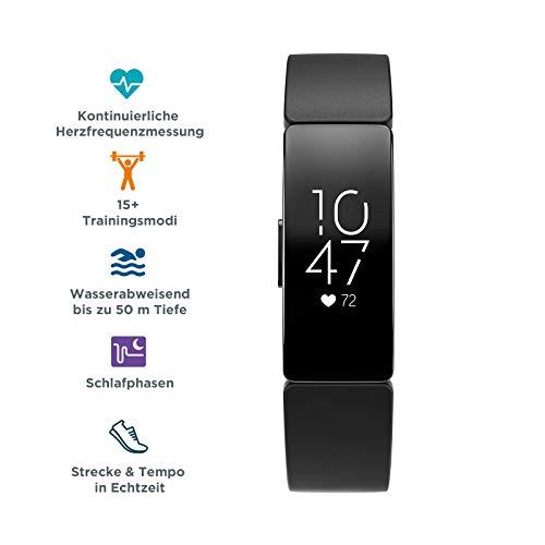 Fitbit Inspire HR Gesundheits- & Fitness Tracker mit automatischer Trainings Erkennung, 5 Tage Akkulaufzeit, Schlaf- & Schwimm-Tracking, Schwarz