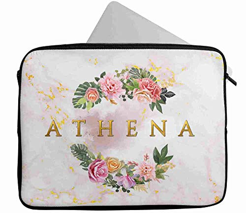 Personalised Any Name Floral Design Laptop Case Sleeve Tablet Bag Chromebook Gift 18 (16-17 inch)