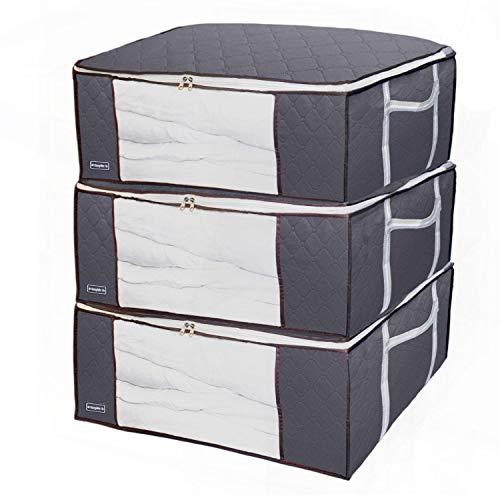 90L Aufbewahrungstasche mit Reißverschluss, 3PCS Große Kleiderablagetaschen mit verstärkten Griffen, Duvet-Lagerungstasche für Kleidung, Steppdecke, Decken, Bettwäsche, Kein-Geruch