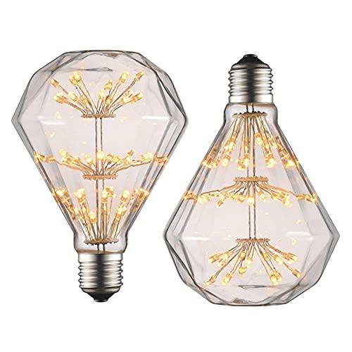 Bombillas decorativas LED Retro Edison, bombillas de luz de hadas de 3 W, luces divertidas estrelladas, 360 grados;Ángulo de haz E27 Boca de tornillo, para decoración de bodas en el dormitorio, paque