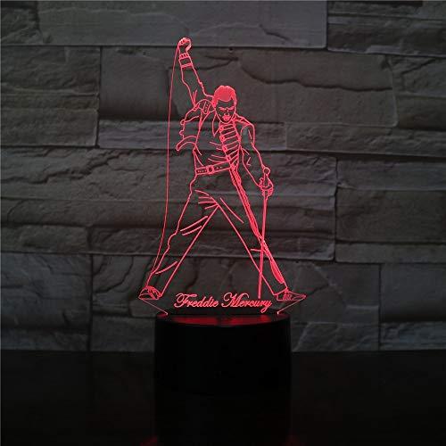 jiushixw 3D acryl nachtlampje met afstandsbediening kleur tafellamp Freddie Mercury Brits zangerin afbeelding kantoor beste fan cadeau tafellamp vergrootglas mint