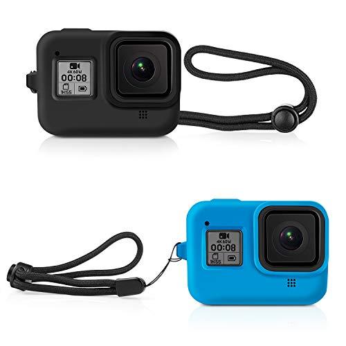 Deyard Silikon-Gummi-Schutzhülle für GoPro Hero 8 Black Action Kamera, Gehäuse Schutzhülle für GoPro Hero 8 Schwarz (Schwarz und Blau)