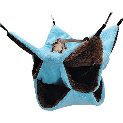 LeerKing Hamaca Hámster Cama Colgante Hurón con 3 Capas de Laberinto Geométrico para Animales Pequeños Rata Chinchilla Cobaya Ardilla para Jugar y Dormir, Azul