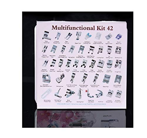 XINGJIJIJIA Ajustable 52 pies de PCs for el hogar/doméstica Máquina de Coser de Costura Accesorios Kits Prop Presser máquina de Coser de pie Calidad (Color : 42PCS Plastic Box)