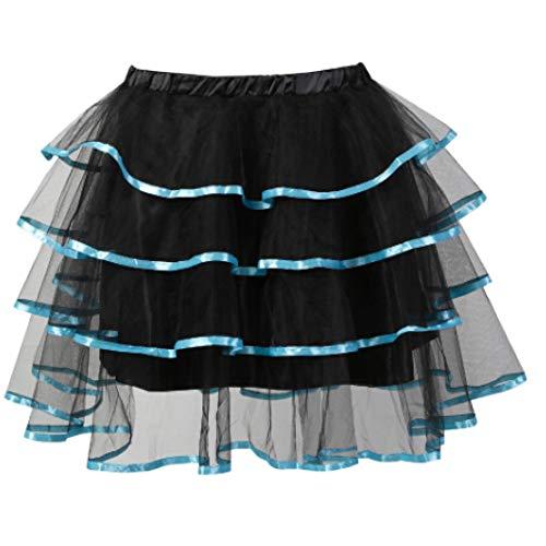 NSYHKB net zwart en kant boog decoratie carnaval multilayer medium mini tutu rok dans