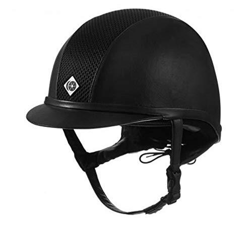 Charles Owen Ayr8 Plus Leather Look Riding Helmet All Black 57cm