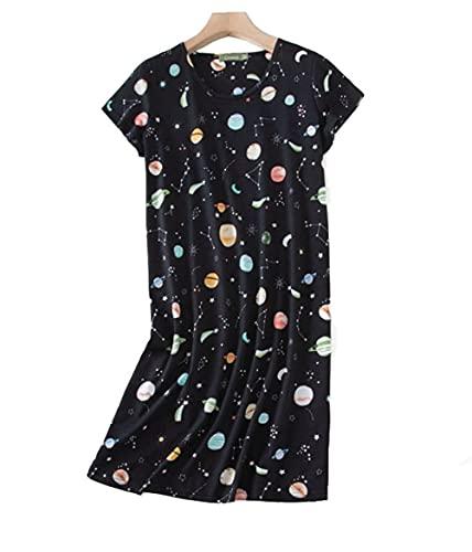 Camisón Mujer Verano Camisones de Algodon Manga Corta Ropa de Dormir Imprimiendo Pijamas Camisónes Elegante Grande Talla