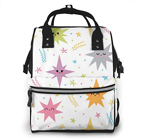 UUwant Sac à Dos à Couches pour Maman Large Capacity Diaper Backpack Travel Manager Baby Care Replacement Bag Nappy Bags Mummy Backpack,(Cute Animated Sea Urchin with A Smile