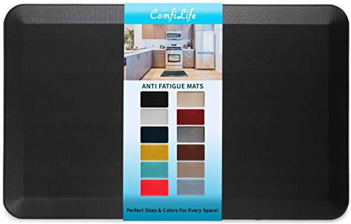 "ComfiLife Anti Fatigue Floor Mat – 3/4 Inch Thick Perfect Kitchen Mat, Standing Desk Mat – Comfort at Home, Office, Garage – Durable – Stain Resistant – Non-Slip Bottom (20"" x 32"", Black)"