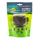 PetSafe Rawhide Treat Rings for Busy Buddy Dog Toys - Peanut Butter Flavor – 16 Rings – Large (SIZE C RINGS)