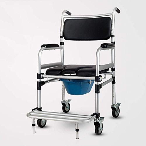 Commode Chair Movable, non-slip shower chair with wheels, aluminum alloy detachable folding with pedal brakes wheelchair for the elderly/disabled/pregnant women